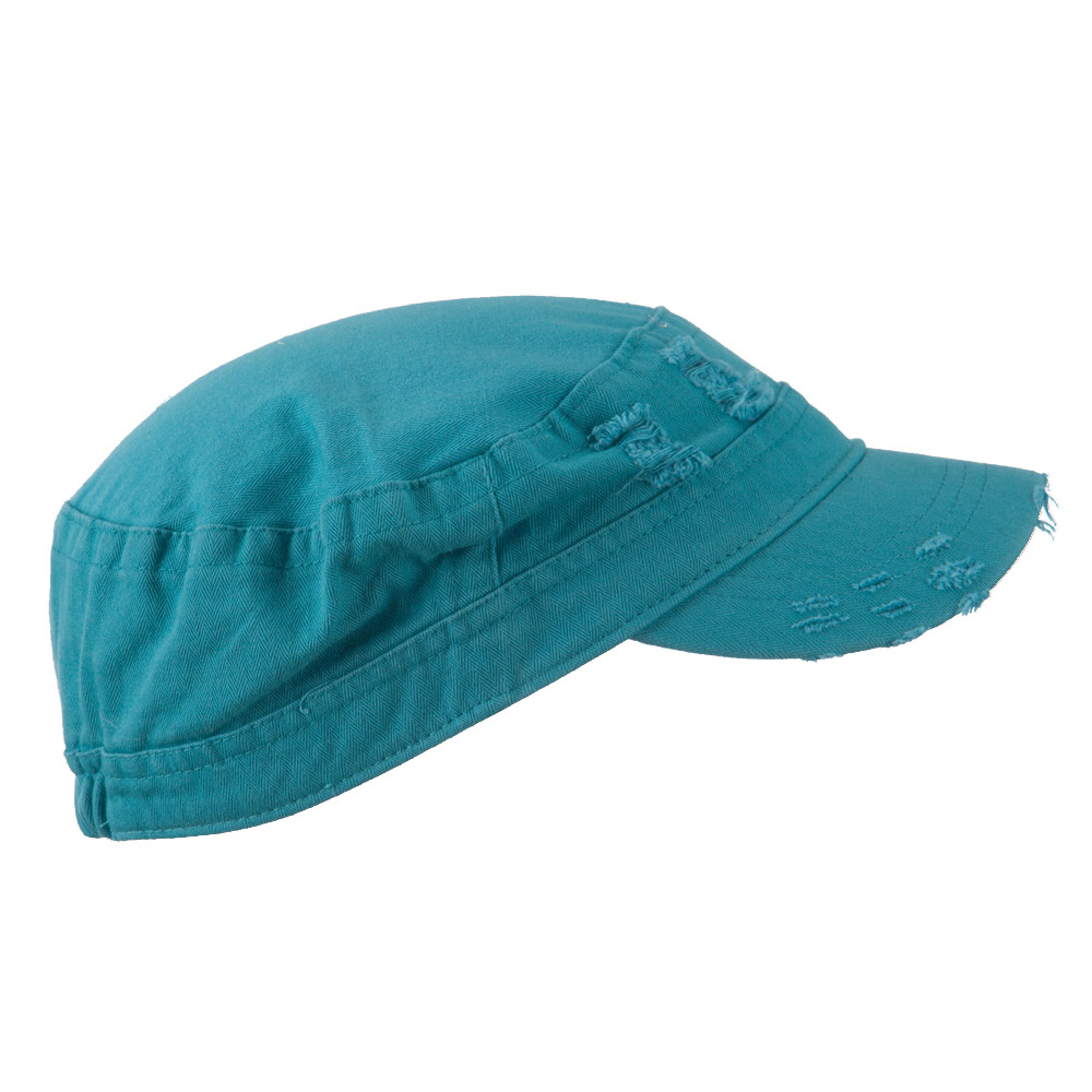 Cotton Herringbone Army Cap - Turquoise - Hats and Caps Online Shop - Hip Head Gear
