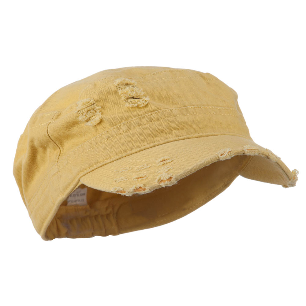 Cotton Herringbone Army Cap - Mustard - Hats and Caps Online Shop - Hip Head Gear