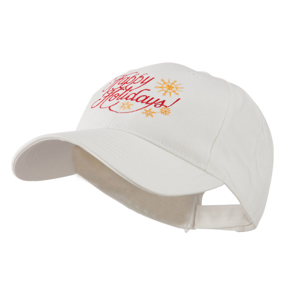 Christmas Happy Holidays Snow Flakes Embroidered Cap - White - Hats and Caps Online Shop - Hip Head Gear