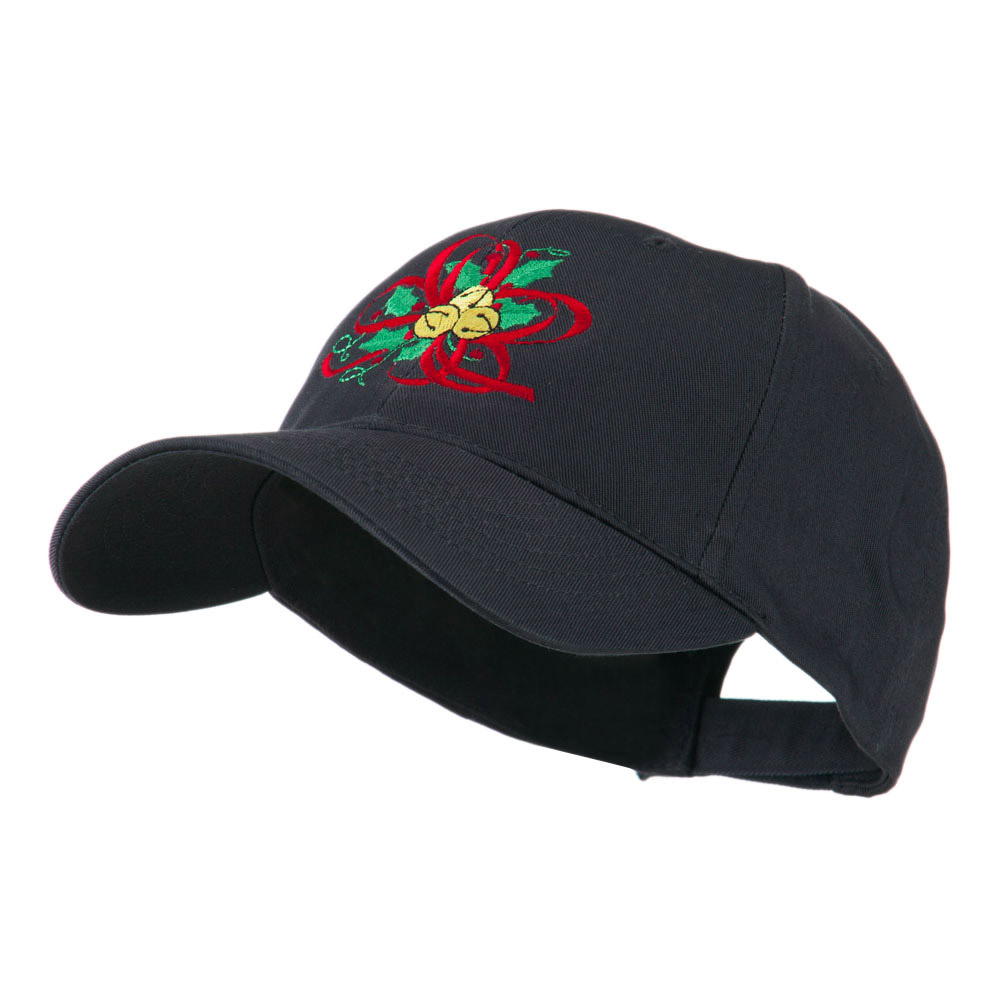 Christmas Holly with Bells Embroidered Cap - Navy - Hats and Caps Online Shop - Hip Head Gear