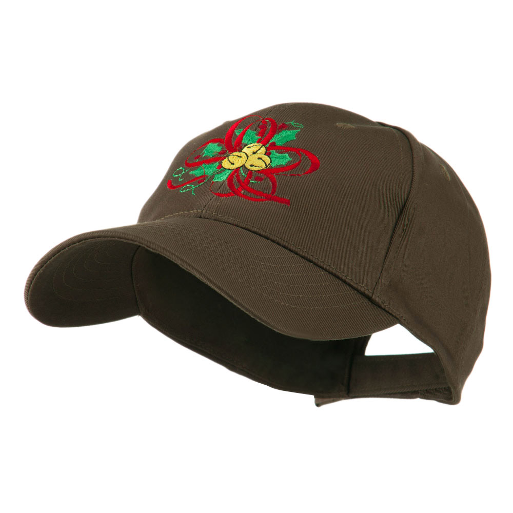 Christmas Holly with Bells Embroidered Cap - Brown - Hats and Caps Online Shop - Hip Head Gear