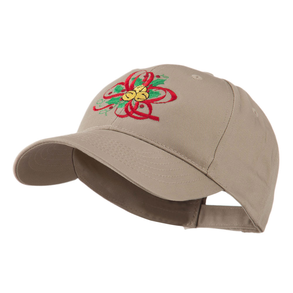 Christmas Holly with Bells Embroidered Cap - Khaki - Hats and Caps Online Shop - Hip Head Gear