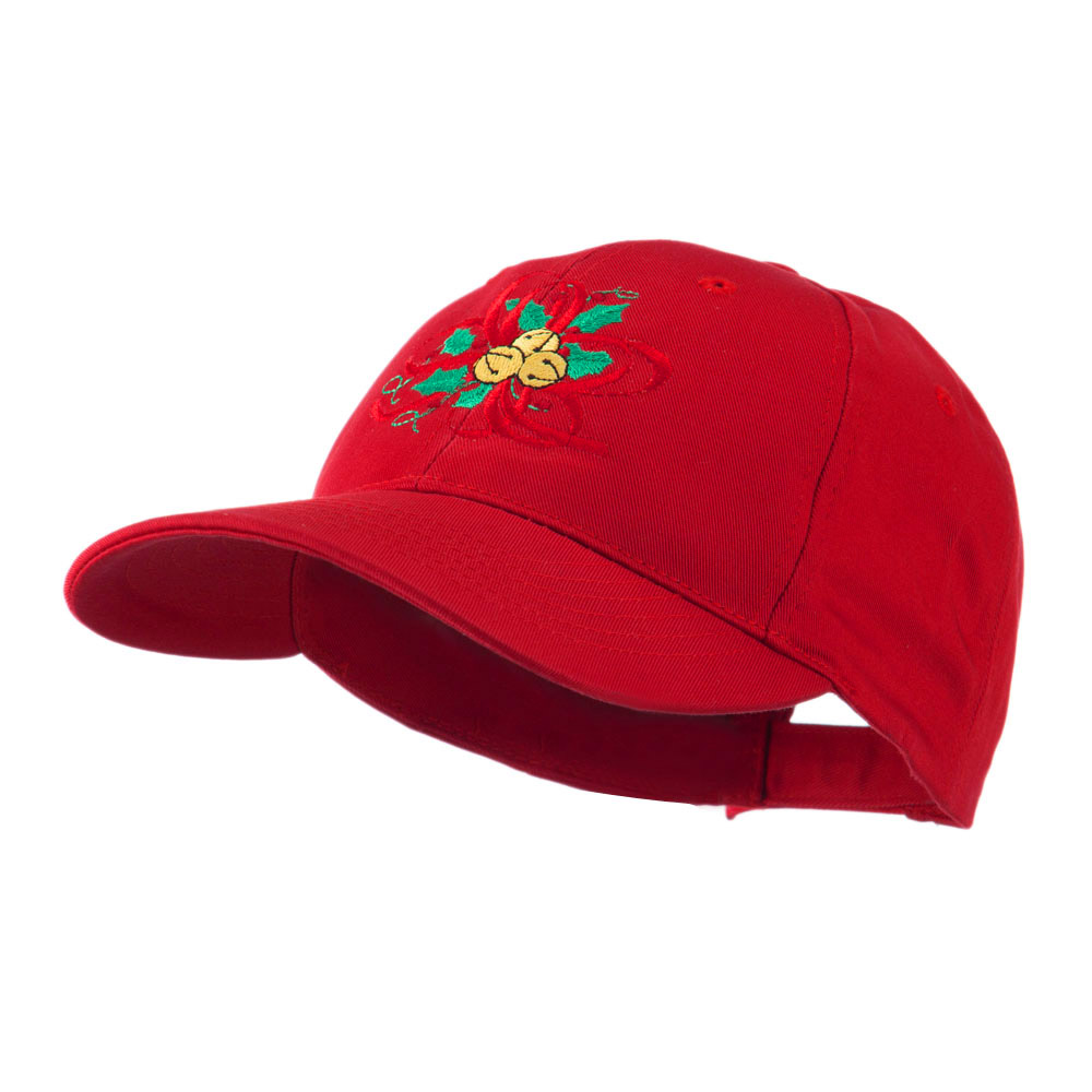 Christmas Holly with Bells Embroidered Cap - Red - Hats and Caps Online Shop - Hip Head Gear