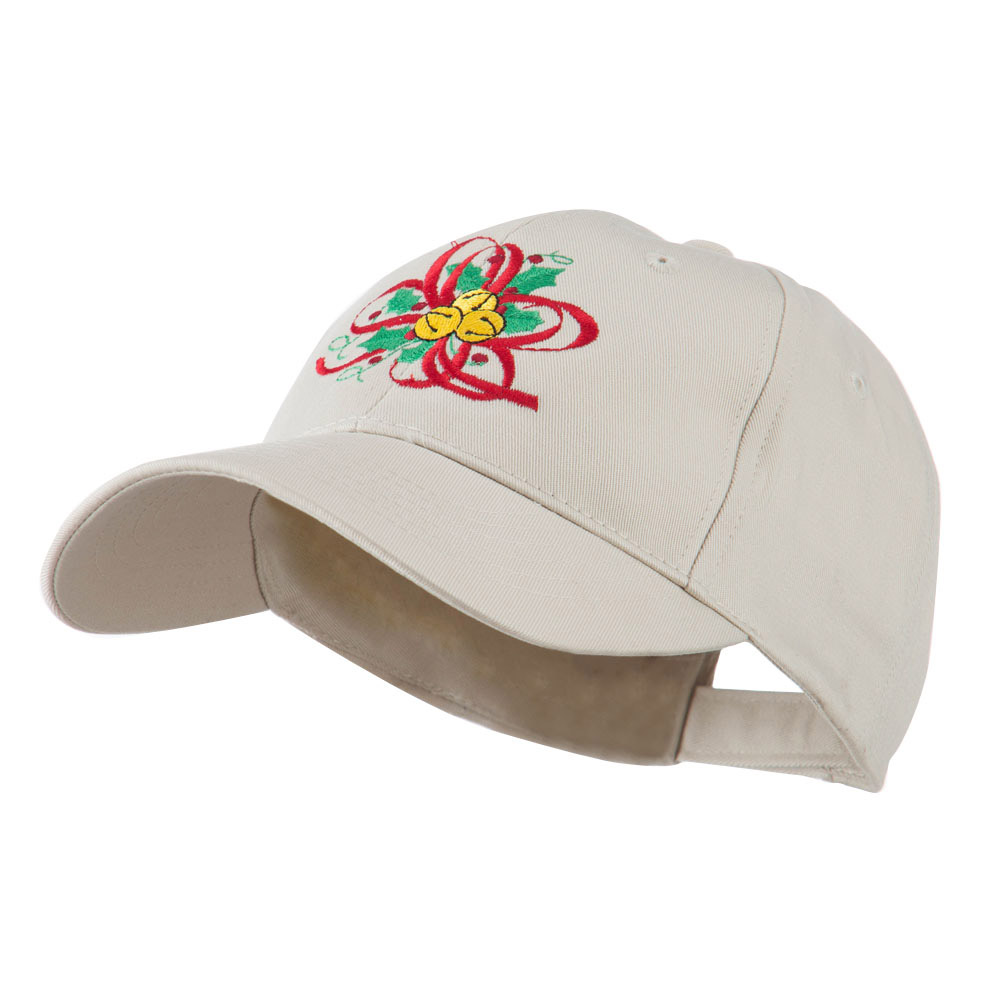 Christmas Holly with Bells Embroidered Cap - Stone - Hats and Caps Online Shop - Hip Head Gear
