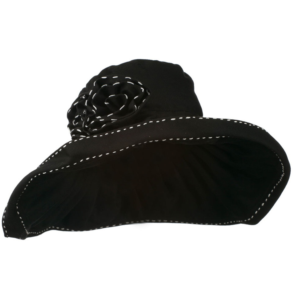 Crushable Cotton Hat with Two Roses - Black - Hats and Caps Online Shop - Hip Head Gear