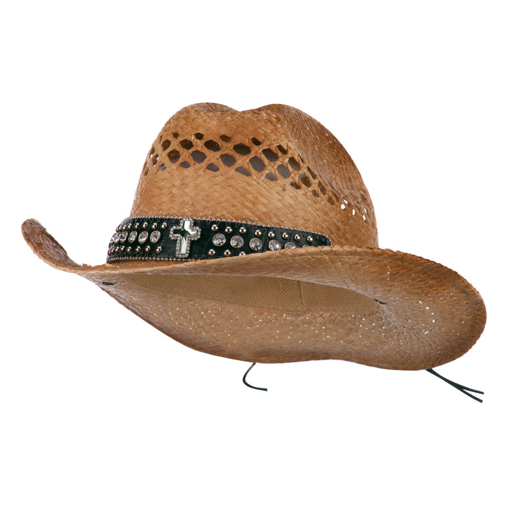 Cowboy Raffia Hat with Cross Detailed Band - Natural - Hats and Caps Online Shop - Hip Head Gear