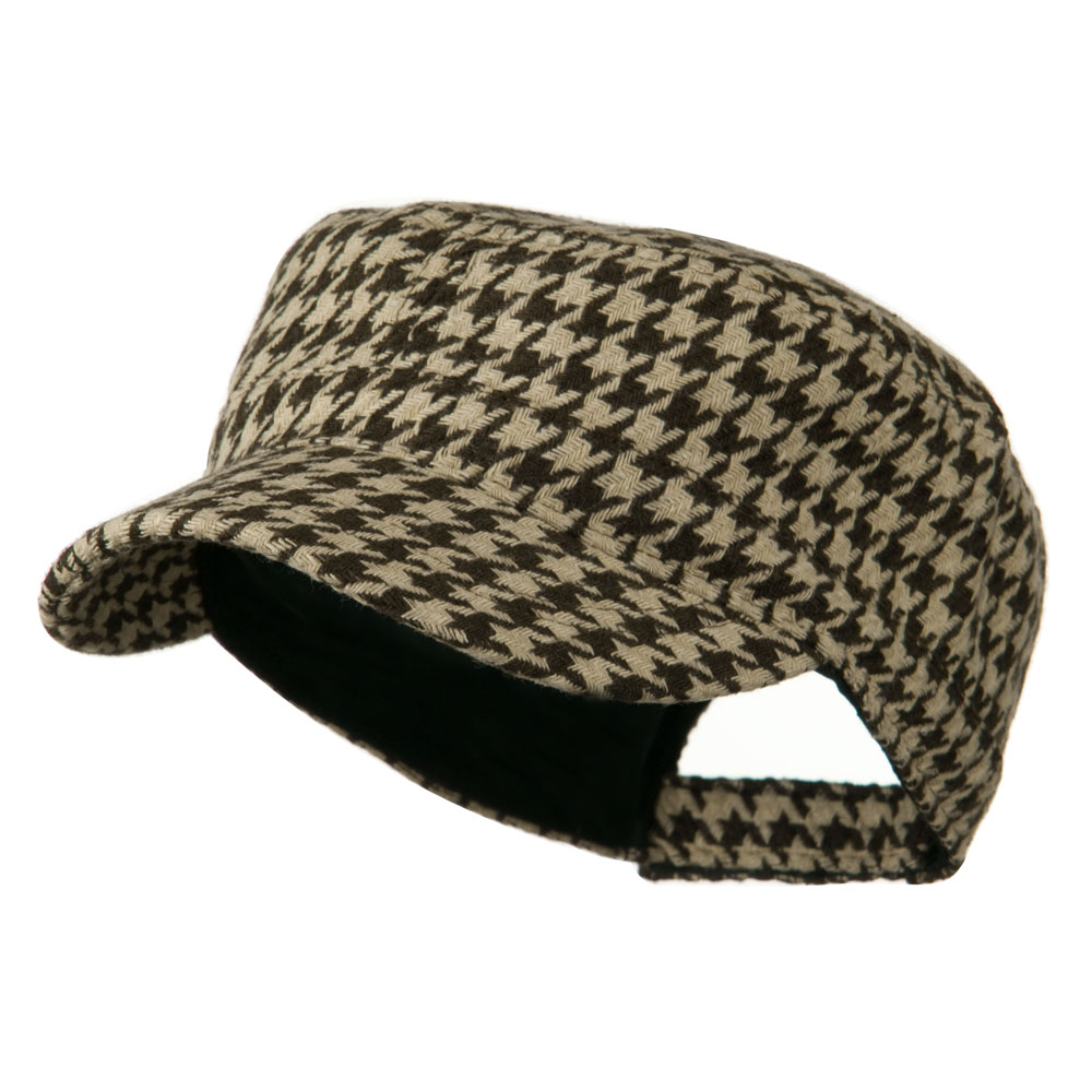Houndstooth Checker Army Cap - Brown - Hats and Caps Online Shop - Hip Head Gear