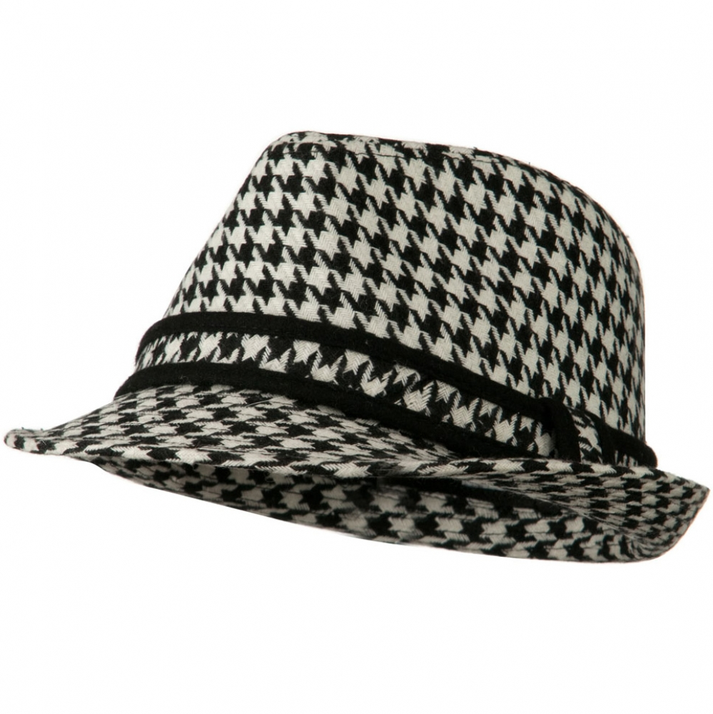Houndstooth Checker Fedora Hat with Band - Black - Hats and Caps Online Shop - Hip Head Gear