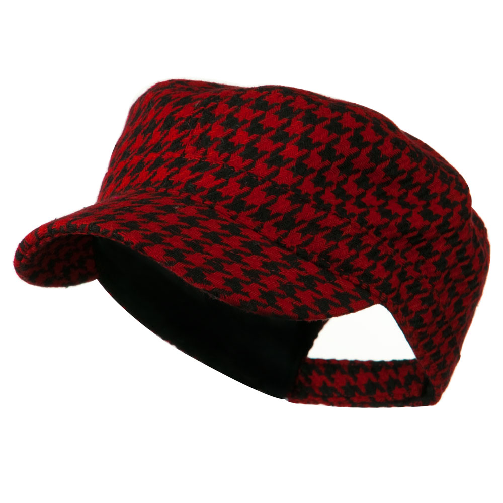 Houndstooth Checker Army Cap - Red - Hats and Caps Online Shop - Hip Head Gear
