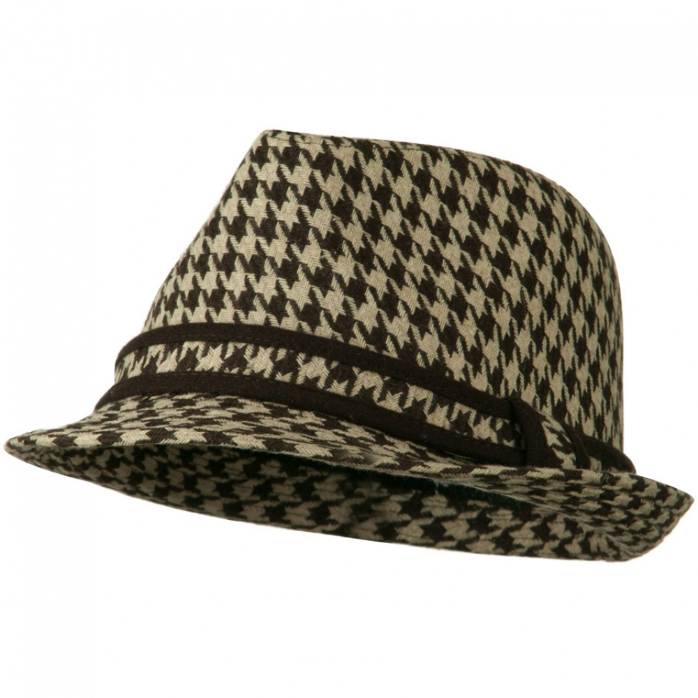 Houndstooth Checker Fedora Hat with Band - Brown - Hats and Caps Online Shop - Hip Head Gear