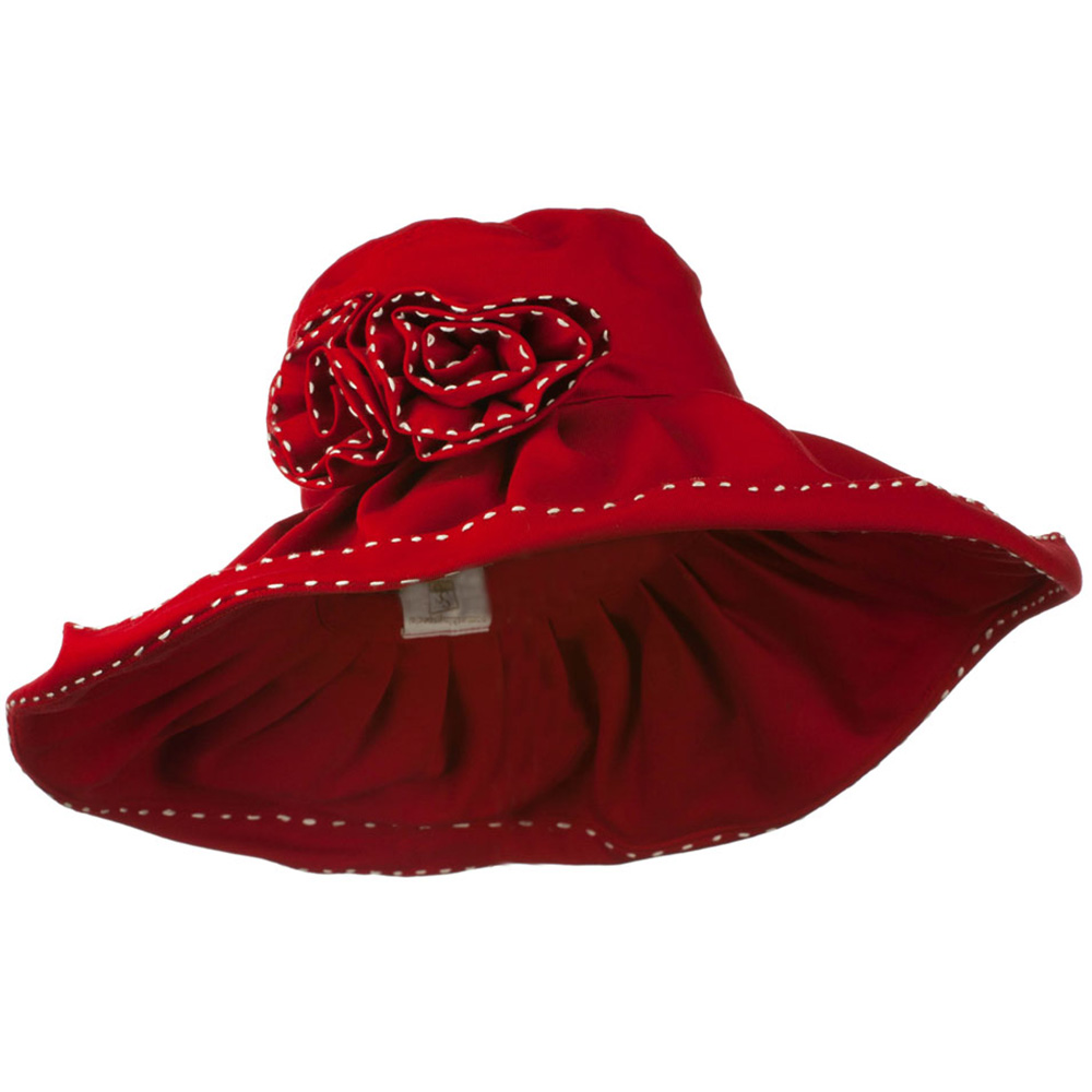 Crushable Cotton Hat with Two Roses - Red - Hats and Caps Online Shop - Hip Head Gear