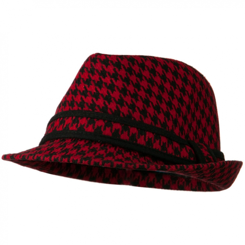 Houndstooth Checker Fedora Hat with Band - Red - Hats and Caps Online Shop - Hip Head Gear