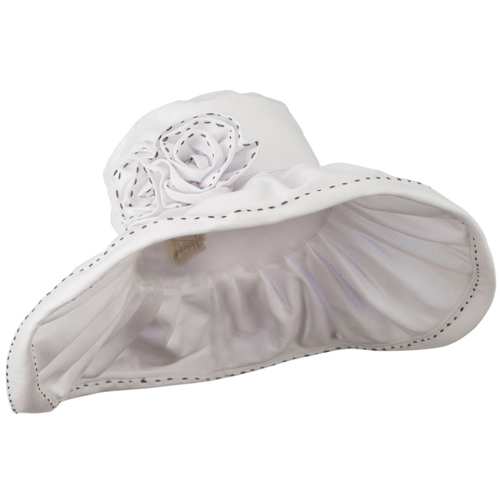 Crushable Cotton Hat with Two Roses - White - Hats and Caps Online Shop - Hip Head Gear