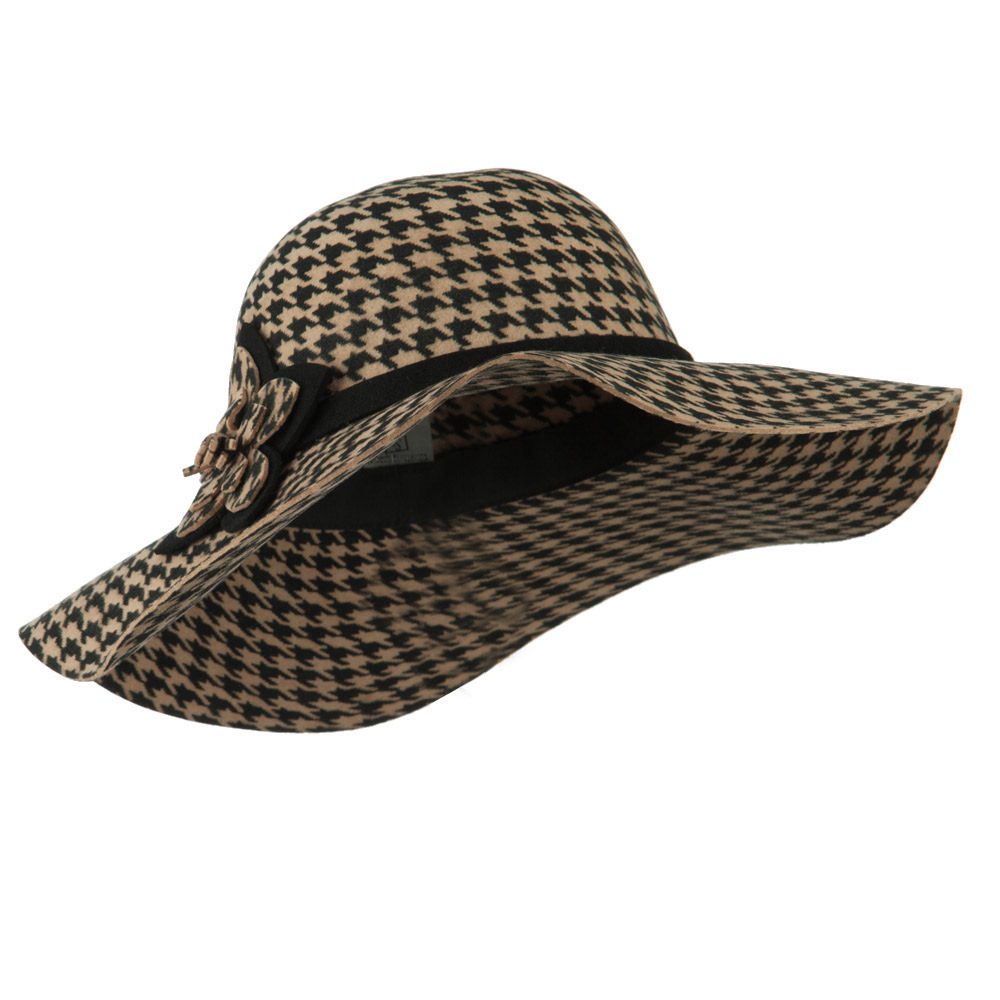 Houndstooth Wool Felt Hat - Camel - Hats and Caps Online Shop - Hip Head Gear