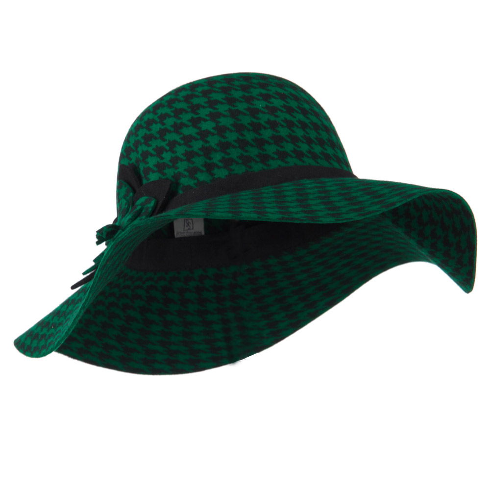 Houndstooth Wool Felt Hat - Green - Hats and Caps Online Shop - Hip Head Gear