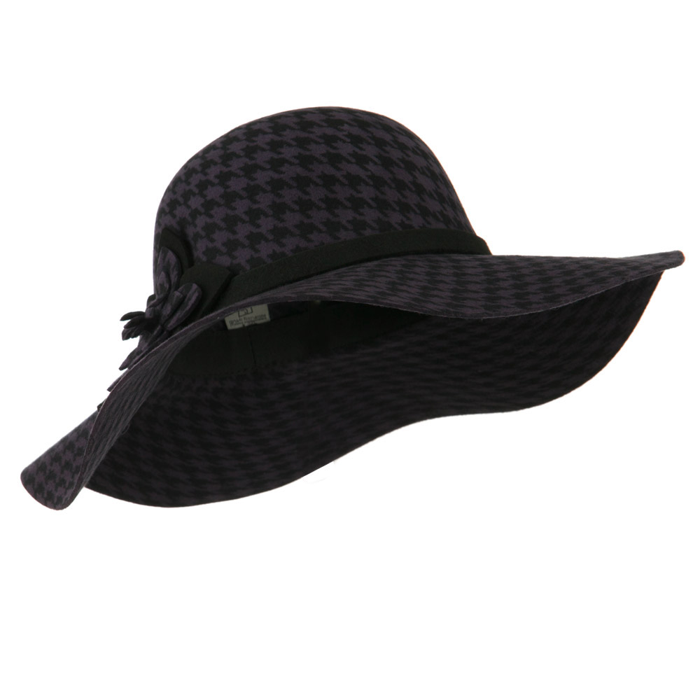 Houndstooth Wool Felt Hat - Purple - Hats and Caps Online Shop - Hip Head Gear