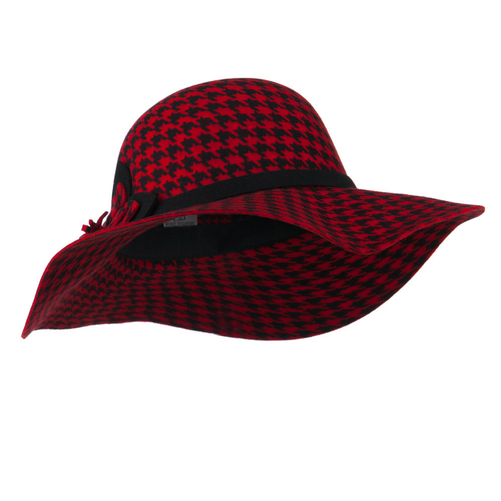 Houndstooth Wool Felt Hat - Red - Hats and Caps Online Shop - Hip Head Gear