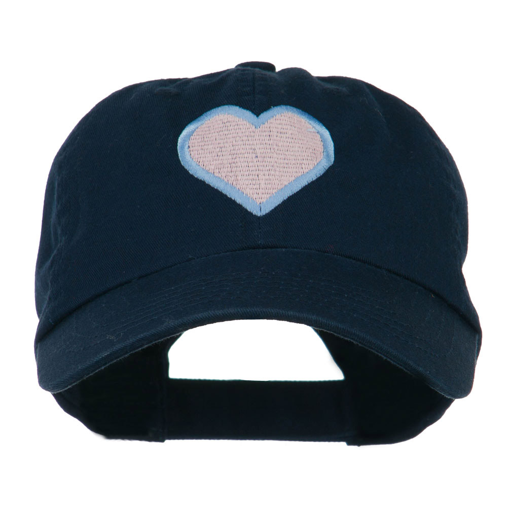 Heart with Outline Embroidered Cap - Navy - Hats and Caps Online Shop - Hip Head Gear