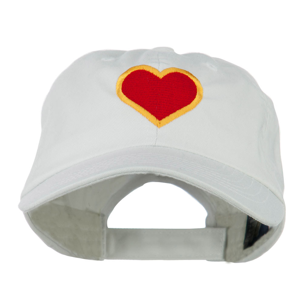 Heart with Outline Embroidered Cap - White - Hats and Caps Online Shop - Hip Head Gear
