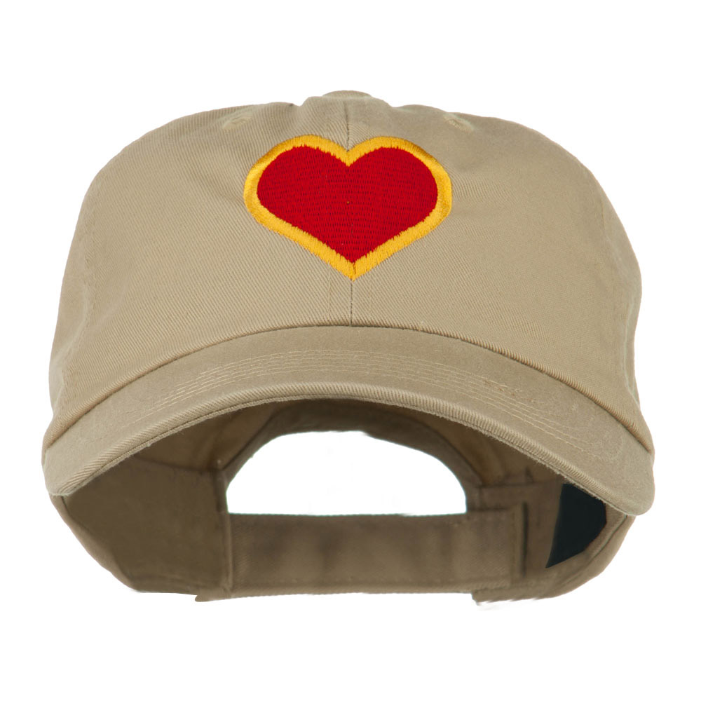Heart with Outline Embroidered Cap - Khaki - Hats and Caps Online Shop - Hip Head Gear