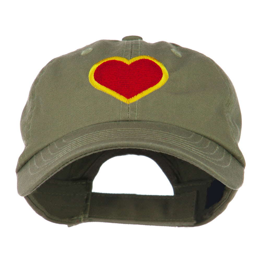Heart with Outline Embroidered Cap - Olive - Hats and Caps Online Shop - Hip Head Gear