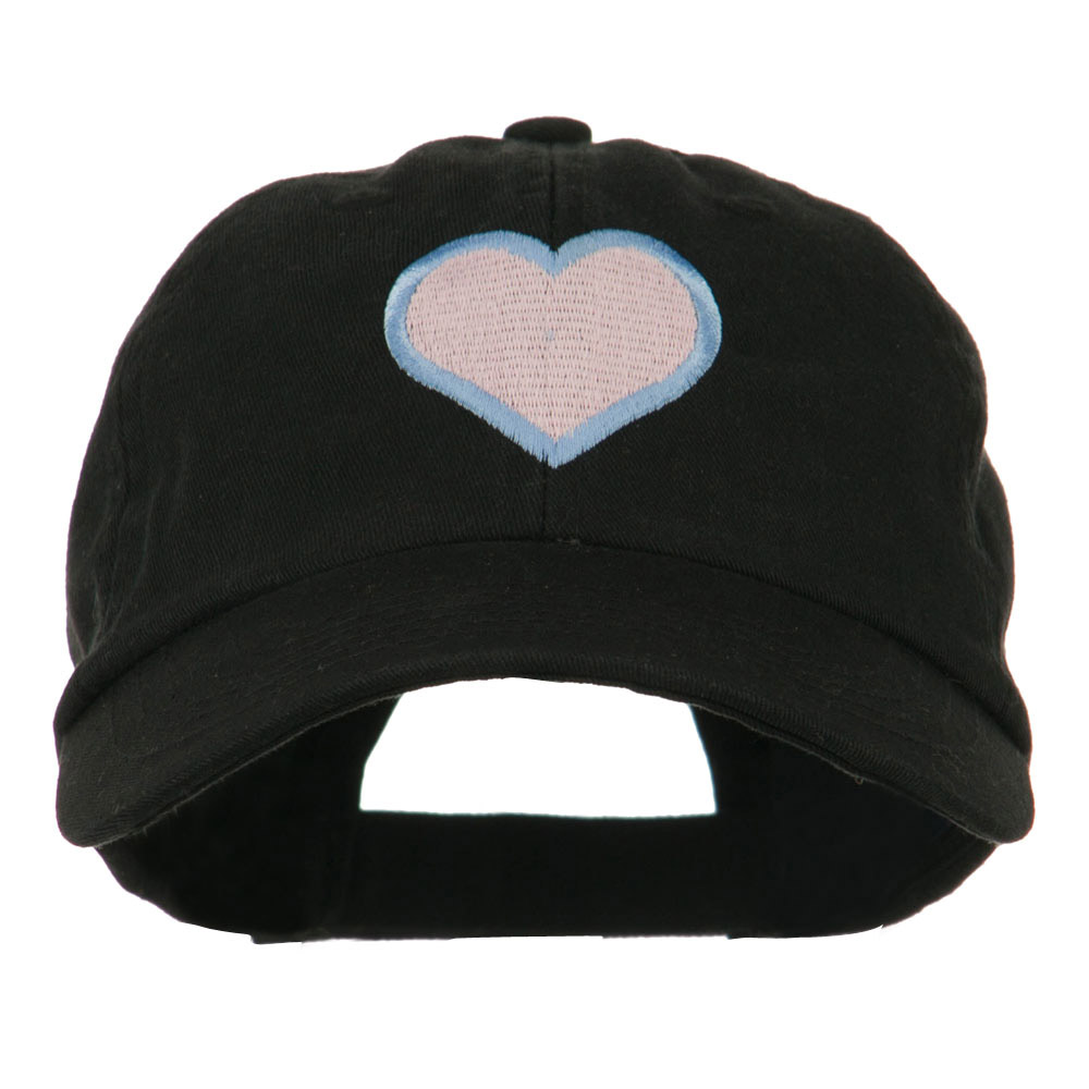 Heart with Outline Embroidered Cap - Black - Hats and Caps Online Shop - Hip Head Gear