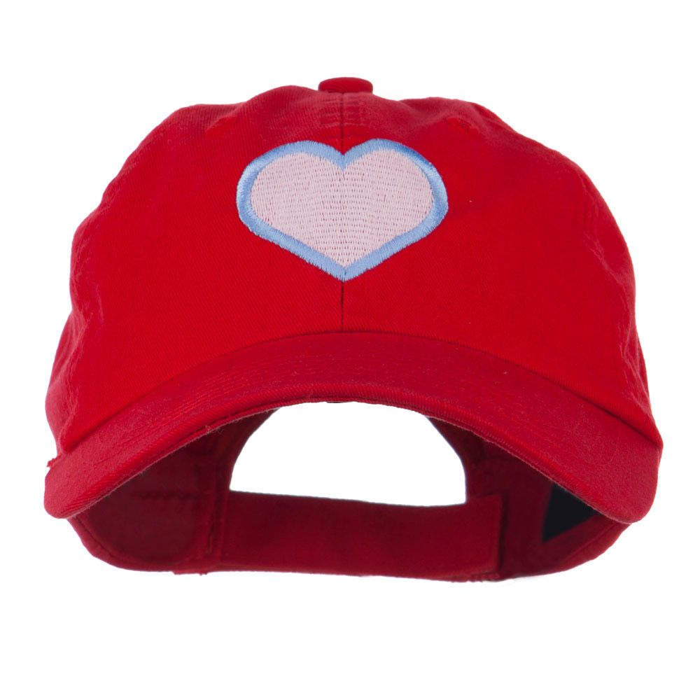 Heart with Outline Embroidered Cap - Red - Hats and Caps Online Shop - Hip Head Gear