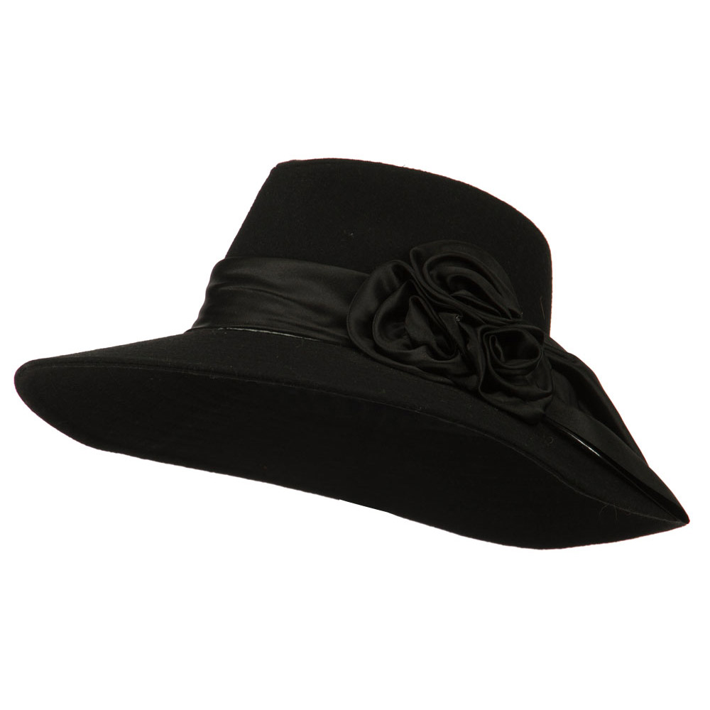 Wide Brim Dressy Hat with Flower Decoration - Black