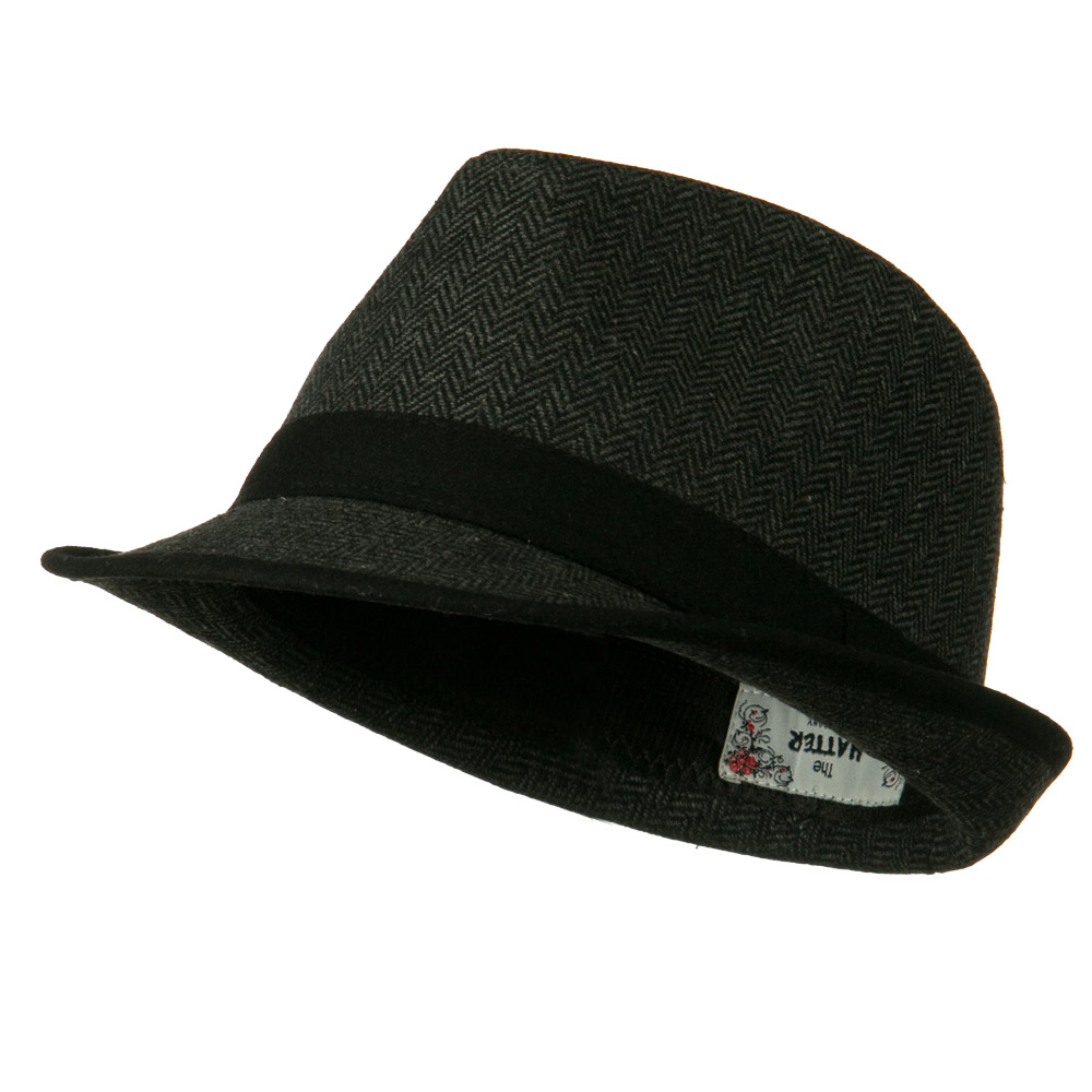 Herringbone Fedora Hat with Solid Band - Black - Hats and Caps Online Shop - Hip Head Gear
