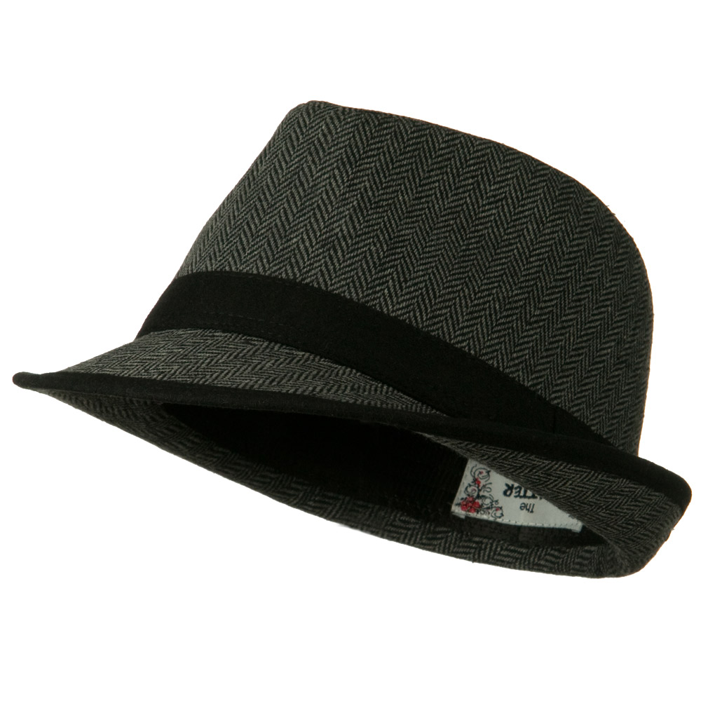 Herringbone Fedora Hat with Solid Band - Grey - Hats and Caps Online Shop - Hip Head Gear