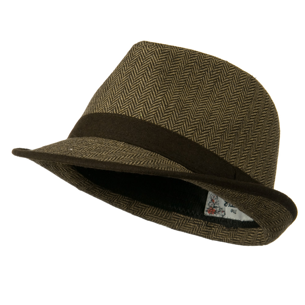 Herringbone Fedora Hat with Solid Band - Brown - Hats and Caps Online Shop - Hip Head Gear
