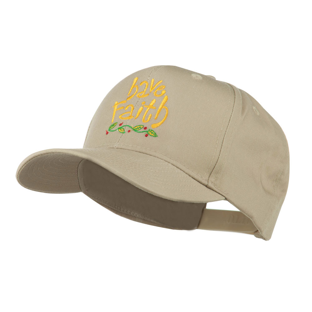 Wording of Have Faith Embroidered Cap - Khaki - Hats and Caps Online Shop - Hip Head Gear