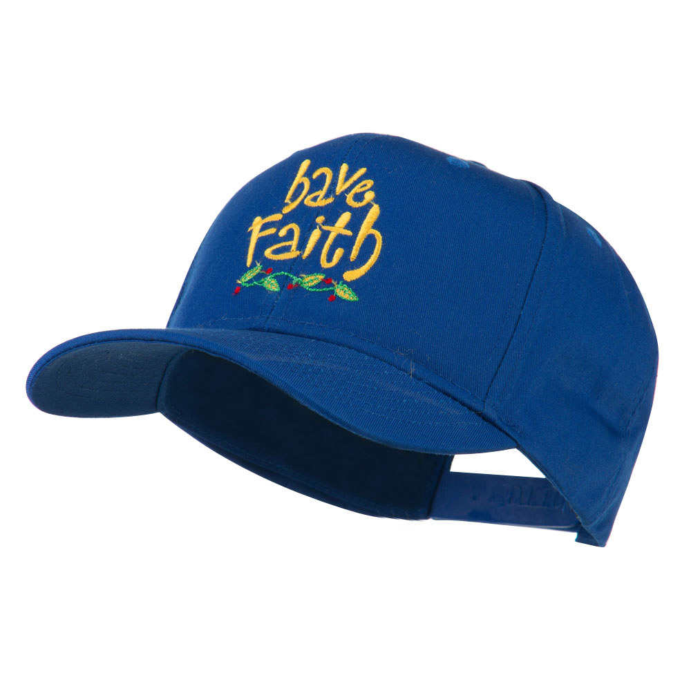 Wording of Have Faith Embroidered Cap - Royal - Hats and Caps Online Shop - Hip Head Gear