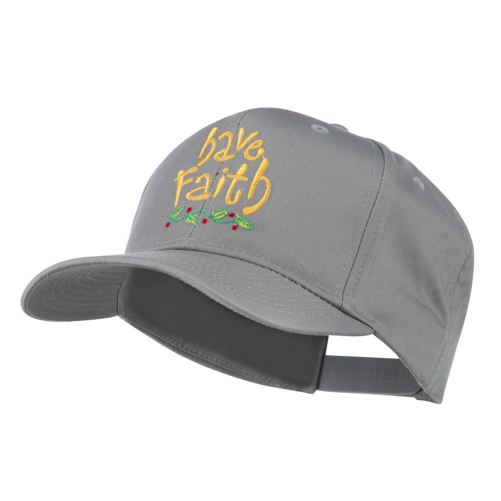 Wording of Have Faith Embroidered Cap - Grey - Hats and Caps Online Shop - Hip Head Gear