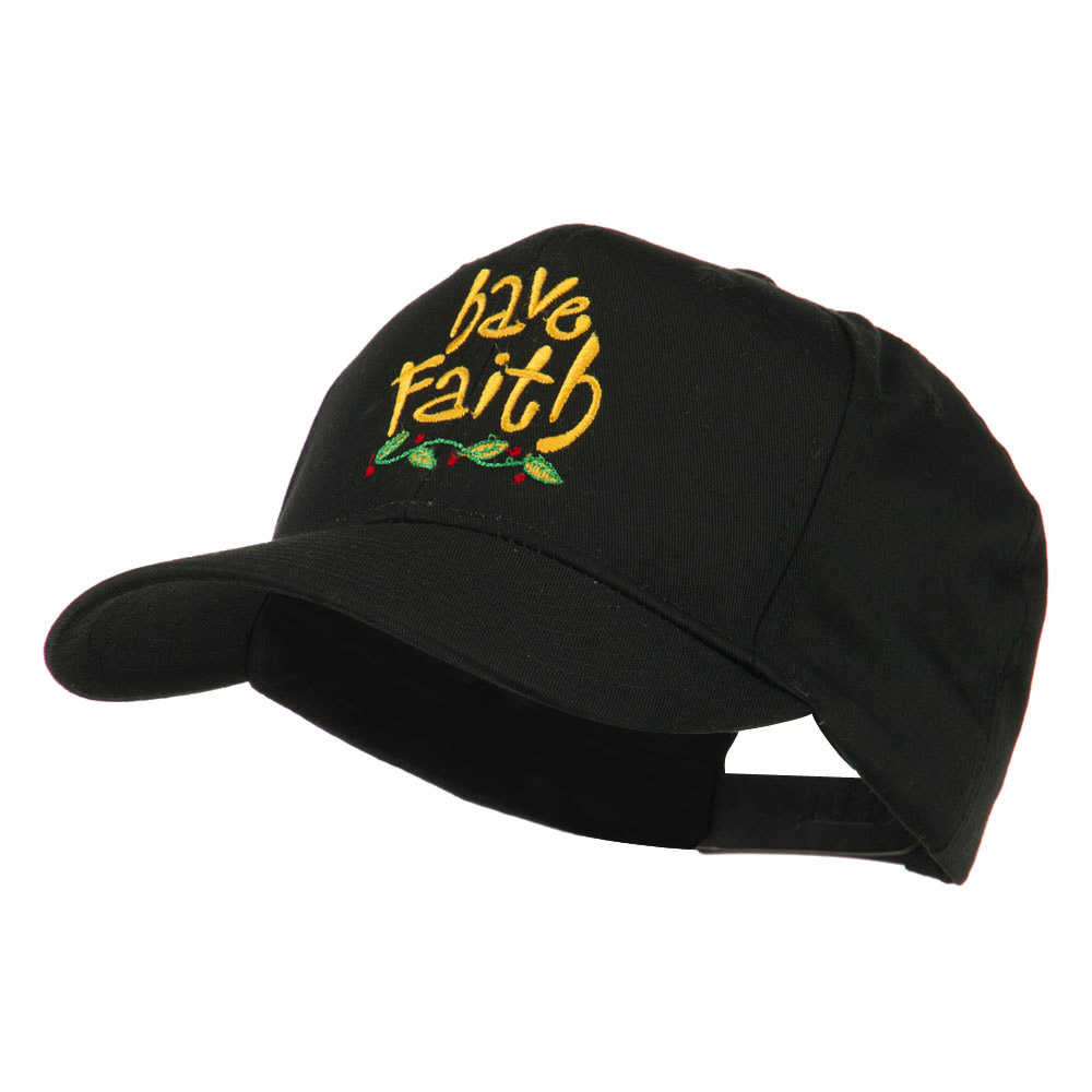 Wording of Have Faith Embroidered Cap - Black - Hats and Caps Online Shop - Hip Head Gear