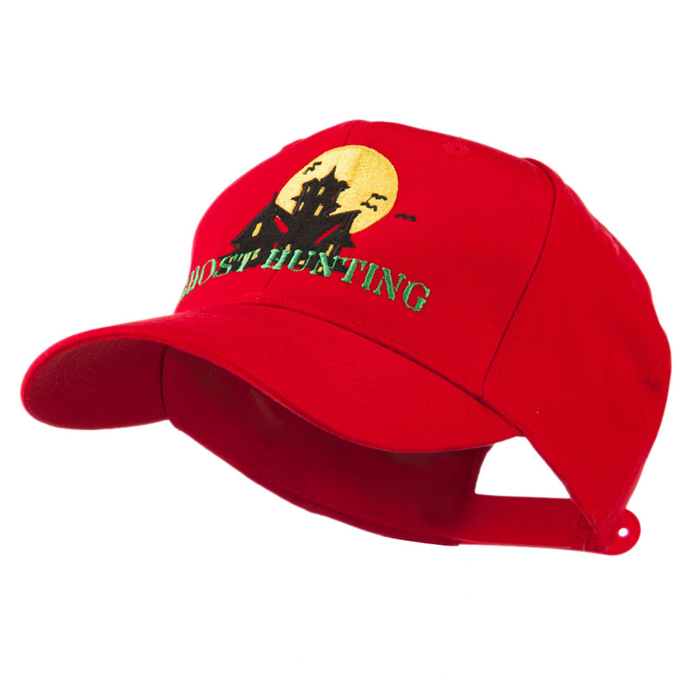 Halloween Ghost Hunting with House Embroidered Cap - Red - Hats and Caps Online Shop - Hip Head Gear