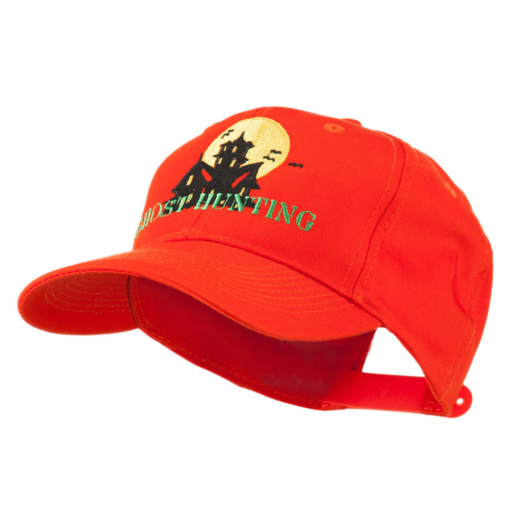 Halloween Ghost Hunting with House Embroidered Cap - Orange - Hats and Caps Online Shop - Hip Head Gear