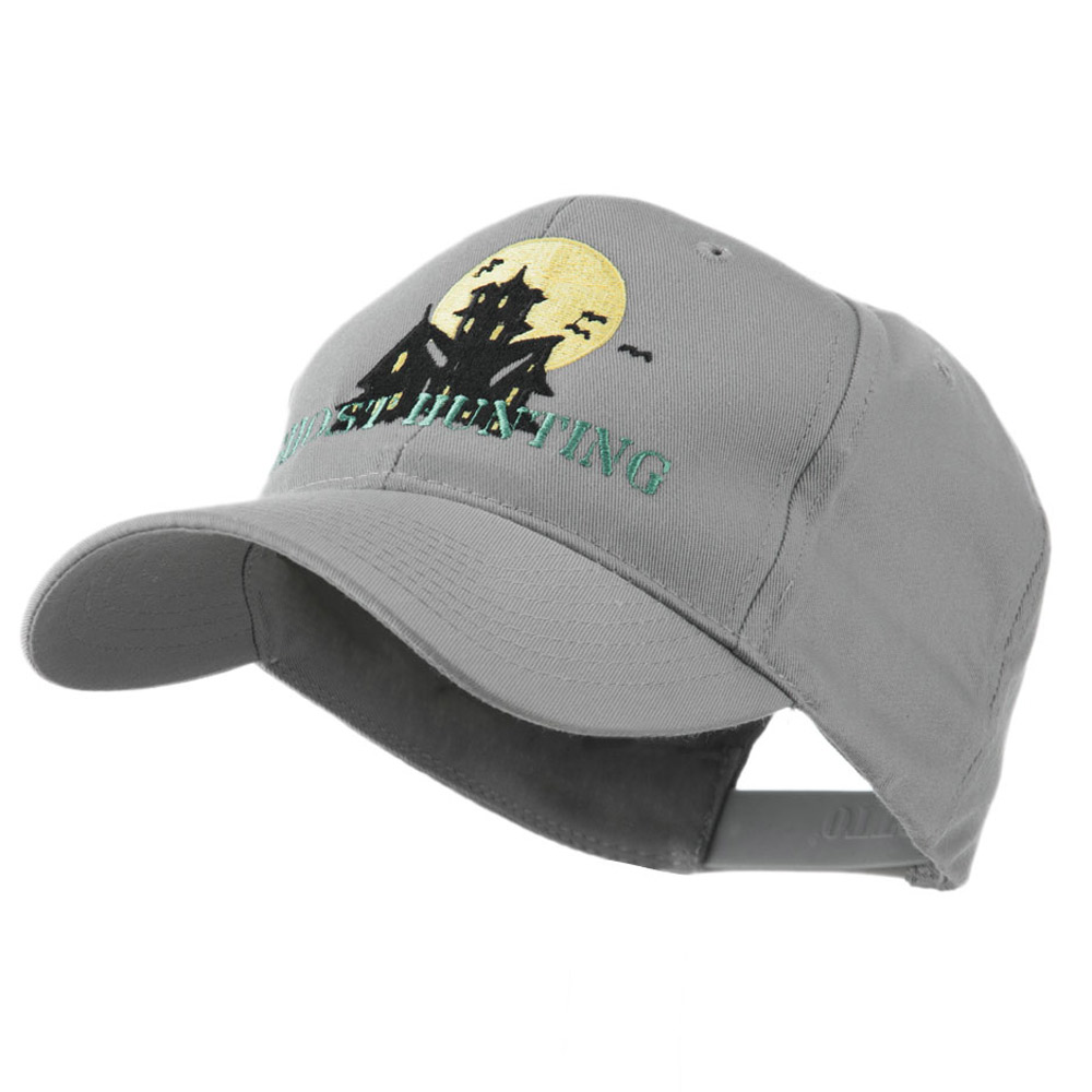 Halloween Ghost Hunting with House Embroidered Cap - Grey - Hats and Caps Online Shop - Hip Head Gear