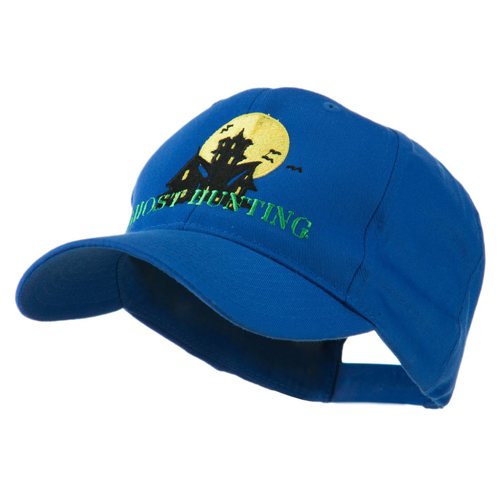 Halloween Ghost Hunting with House Embroidered Cap - Royal - Hats and Caps Online Shop - Hip Head Gear