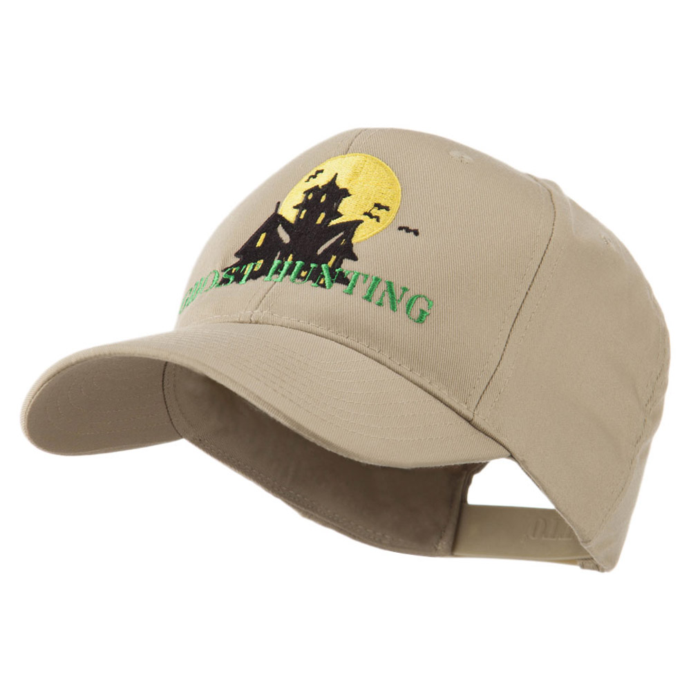 Halloween Ghost Hunting with House Embroidered Cap - Khaki - Hats and Caps Online Shop - Hip Head Gear
