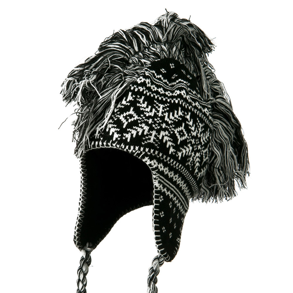 Handmade Knit Helmet with Braids Hat - Black - Hats and Caps Online Shop - Hip Head Gear