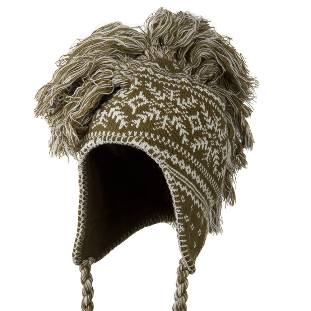 Handmade Knit Helmet with Braids Hat - Brown - Hats and Caps Online Shop - Hip Head Gear