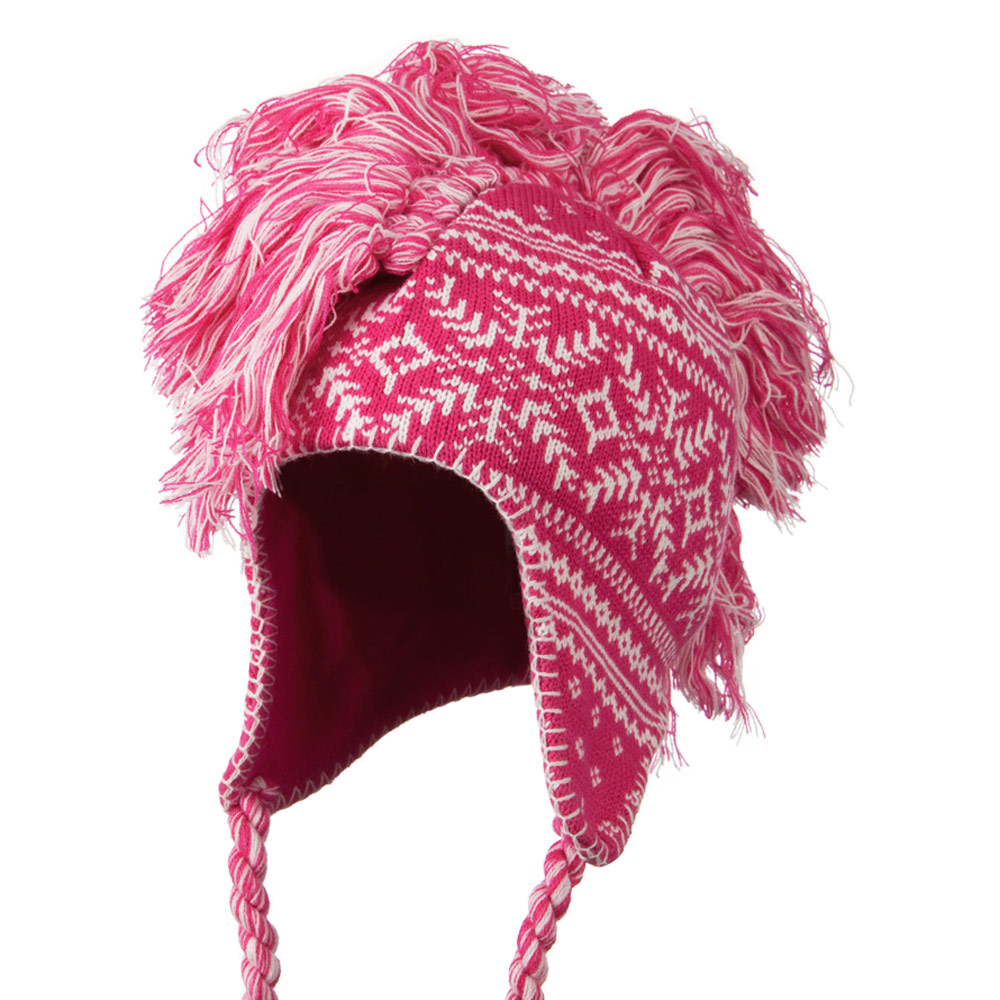 Handmade Knit Helmet with Braids Hat - Pink - Hats and Caps Online Shop - Hip Head Gear