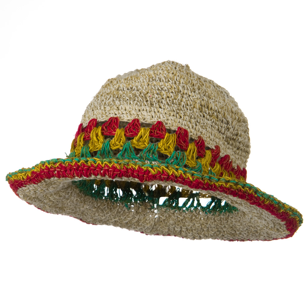 Hemp with Rasta Brim Hat - Natural RGY - Hats and Caps Online Shop - Hip Head Gear