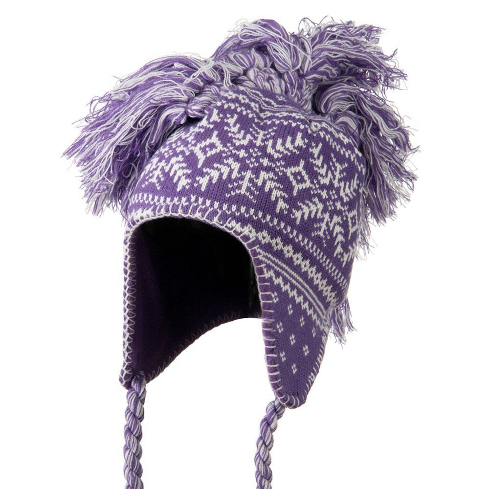 Handmade Knit Helmet with Braids Hat - Purple - Hats and Caps Online Shop - Hip Head Gear