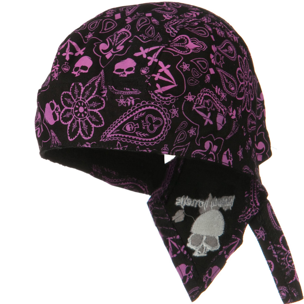 Highway Honey Trade Headwrap - Purple Paisley Skull - Hats and Caps Online Shop - Hip Head Gear