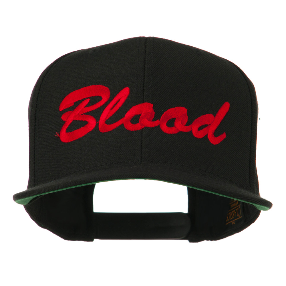 Flat Bill Hip Hop Casual Blood Embroidered Cap - Black - Hats and Caps Online Shop - Hip Head Gear