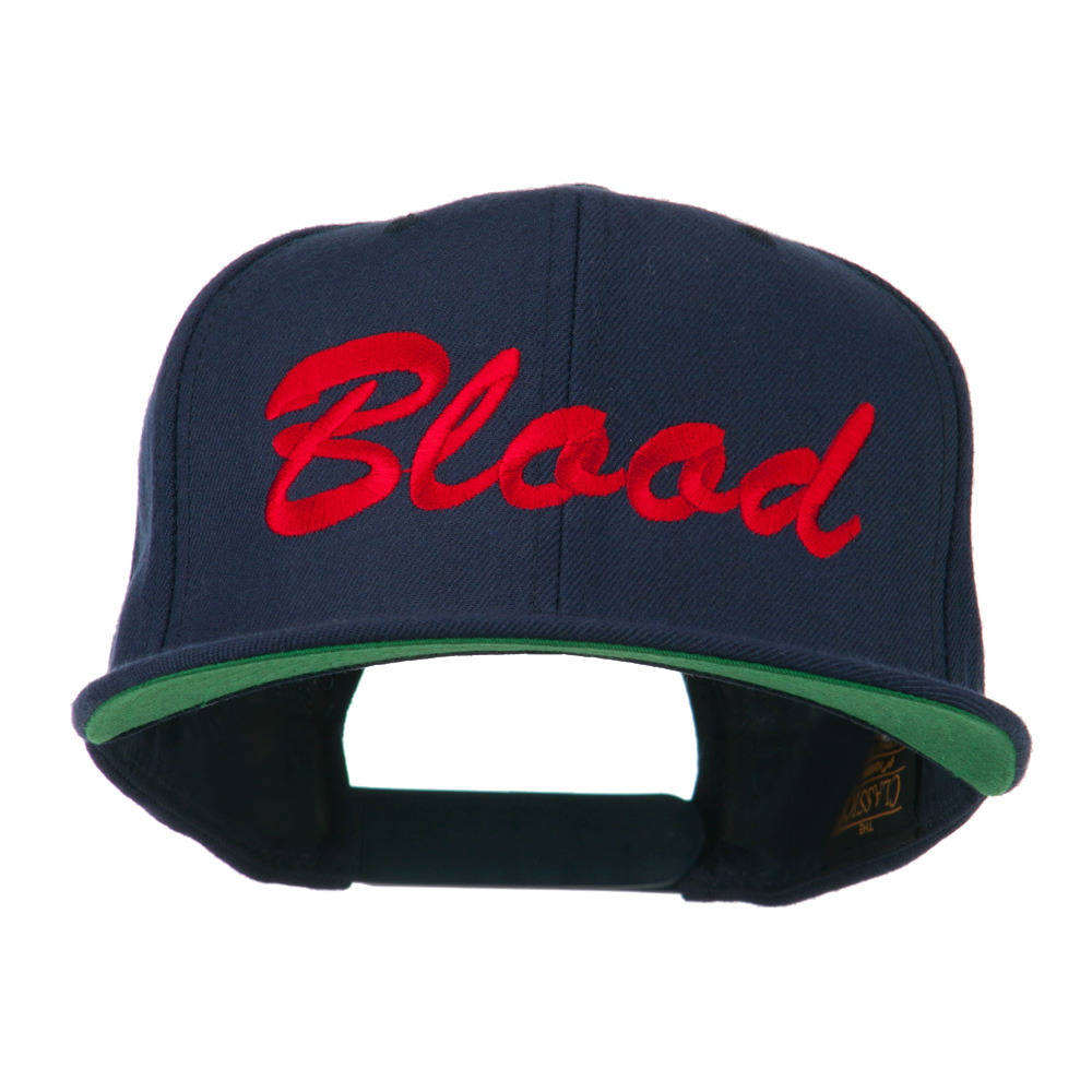 Flat Bill Hip Hop Casual Blood Embroidered Cap - Navy - Hats and Caps Online Shop - Hip Head Gear