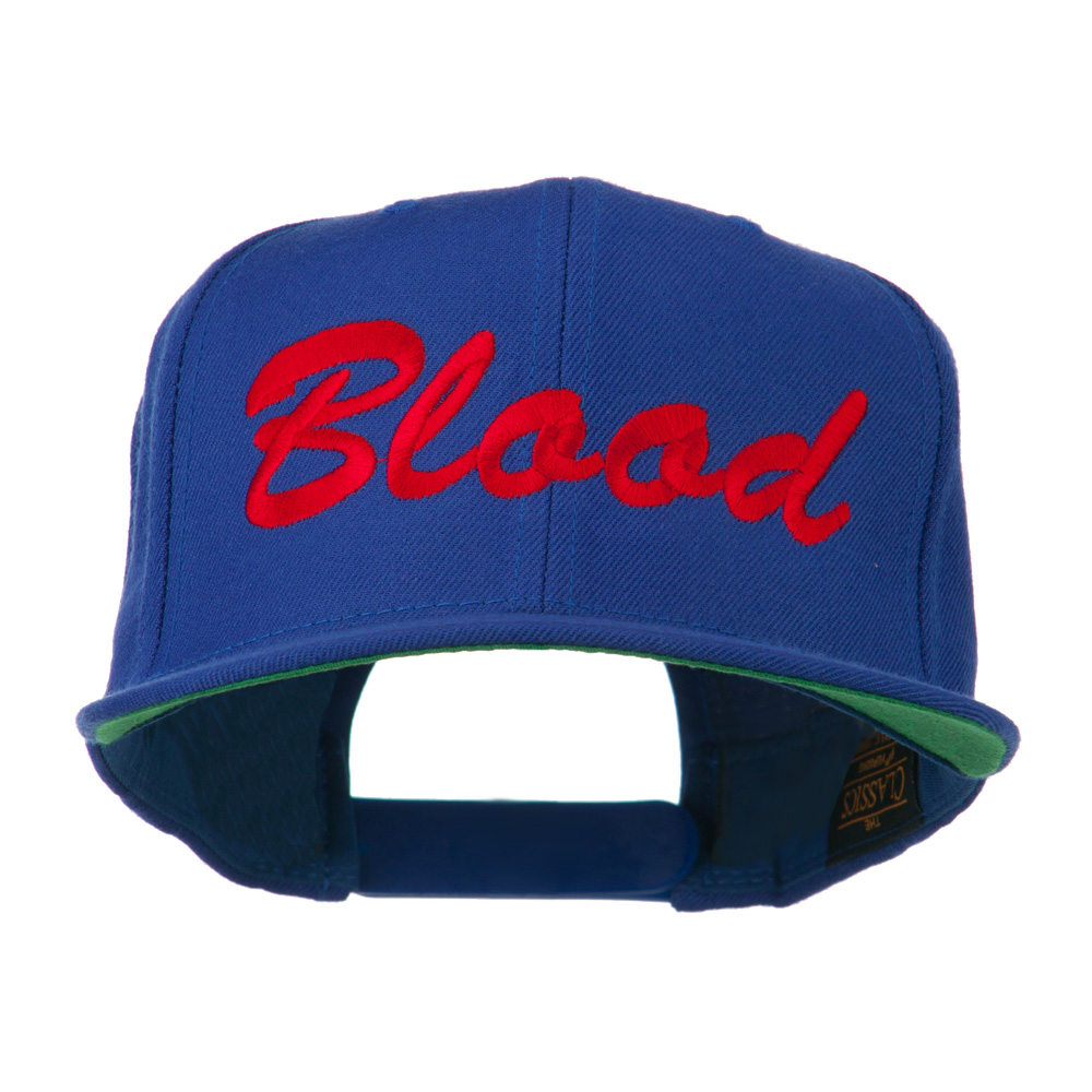 Flat Bill Hip Hop Casual Blood Embroidered Cap - Royal - Hats and Caps Online Shop - Hip Head Gear