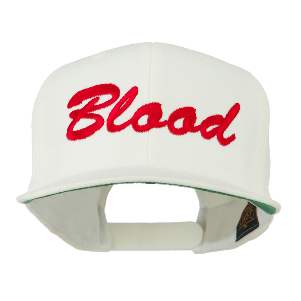 Flat Bill Hip Hop Casual Blood Embroidered Cap - White - Hats and Caps Online Shop - Hip Head Gear